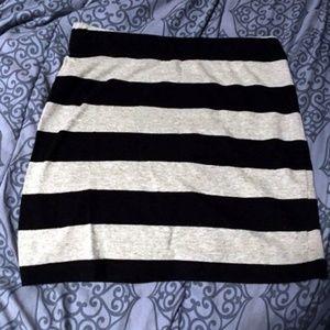 Forever 21 Small Black & Gray Stripe Bodycon Skirt